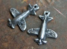 Airplane Charms Small Handmade Handcast Pewter by Inviciti on Etsy