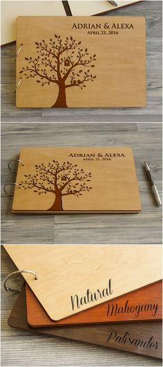 Wood Wedding Guest Book Birds in Tree Design Personalized Guest Book Rustic Wedding Guest Book Anniversary Custom Guest Book Bridal Shower
