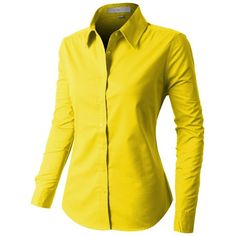 LE3NO PREMIUM Womens Easy Care Long Sleeve Button Down Work Shirt ($19) ❤ liked on Polyvore featuring tops, long sleeve work shirts, yellow top, yellow long sleeve top, long sleeve tops and utility shirt