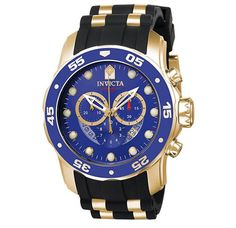 Incredible prices on Invicta Watches like Invicta Pro Diver Chronograph Quartz 6981 Men's Watch has Stainless Steel Case, Black Polyurethane With Gold Tone Barrel Inserts, Quartz Movement, Caliber: Relogio Invicta Pro Diver, Invicta Pro Diver Chronograph, Brand Name Watches, Sport Watches, Watches For Men, Casio Vintage, Skeleton Watches, Watch Sale, Casio Watch