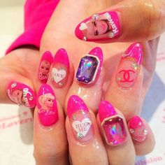 pink barbie and gem gyaru nails: probably germ traps but interesting to see