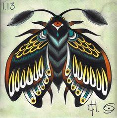 traditional tattoo moth