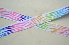 Rainbow Zebra/Tiger striped Print 7/8  grosgrain by IsamayDesigns, $1.55