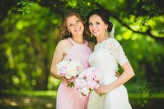 Best Friend Bridesmaid Bride Bridal Bouquet Pink Peonies Pink Bridesmaid Dress Oulton Hall Wedding Photography Yorkshire England