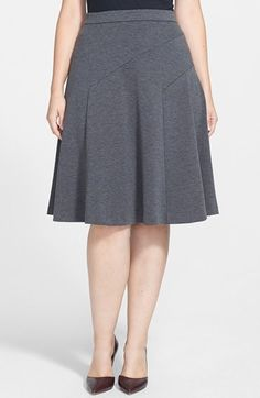 Free shipping and returns on Halogen® Midi Fit & Flare Skirt (Plus Size) at Nordstrom.com. Asymmetrically angled panels shape a flattering silhouette for a heathered knit skirt as it falls from a narrow waistband to a flared, full circle below the knee.