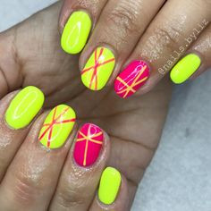 "109 Likes, 1 Comments - Liz Henson (@nails.byliz) on Instagram: ""Neons neons and more neons! . . . . #nails #gelnails #nailstagram #naturalnails #neonnails…"""