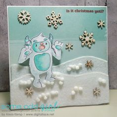 Card by Alexis Kemp.  Using Yeti clear stamp set from Some Odd Girl. #someoddgirl #wintercards #christmascard