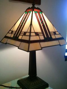 Stained glass prairie lamp