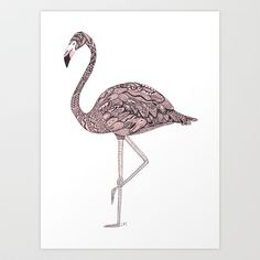 Bathroom// Pink Flamingo Art Print by Laura Maxwell - $17.00