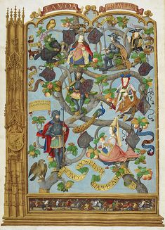 The Portuguese Genealogy / Genealogia dos Reis de Portugal. - caption: 'Genealogy of the Kings of the Asturias, from Favila, Duke of Cantabr...