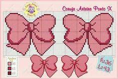 Fiocco Rosa Cross Stitching, Cross Stitch Embroidery, Cross Stitch Patterns, Pixel Pattern, Bow Pattern, Cross Stitch Boards, Cross Stitch Baby, Loom Patterns, Beading Patterns