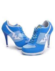 fbe38e1f395 Unique Blue Color Blocking Microfiber High Heel Sneakers - Milanoo.com