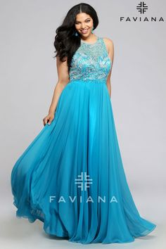 Faviana Chiffon with beaded bust and keyhole back - Bridesmaid Dresses