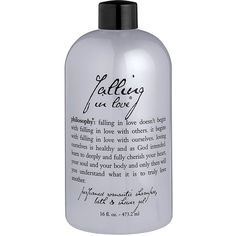 PHILOSOPHY Falling in Love Shower Gel 16oz ($24) ❤ liked on Polyvore featuring beauty products, bath & body products, body cleansers, fillers, beauty, makeup and extra