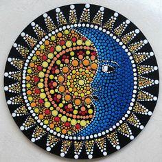 Tableau rond Soleil lune dot painting, coloré, multicolore, pointillisme, pointillé