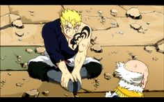 Aww Laxus ♥ he looks cute here. He's like a little kid who got scolded by his grandfather :P hihihi Dreyar Moments :)