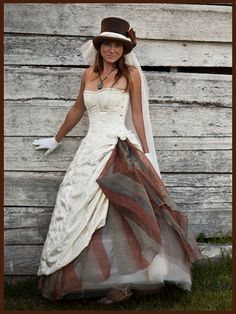 Steampunk Wedding Dress - Off the Shoulder Gown- Corset Bustle Skirt ...