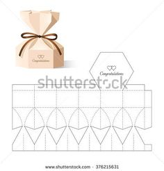 Retail Box with Blueprint Template - compre este vetor na Shutterstock e encontre outras imagens. Diy Gift Box, Diy Box, Gift Boxes, Origami Paper, Diy Paper, Paper Art, Box Packaging, Paper Packaging, Packaging Design