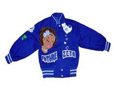 """Big Boy Headgear Zeta Phi Beta Sorority """"Future Zeta"""" Little Girls Twill Jacket Blue Greek Store, Zeta Phi Beta, Sorority, Little Girls, Blue And White, Future, Sweatshirts, Sweaters, Headgear"""