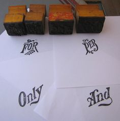 beautiful old Vintage Wooden Rubber Stamps