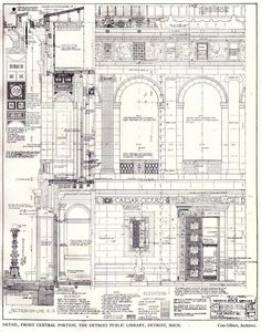 Cass Gilbert Drawings | Detail drawings for the facade of Cass Gilbert's Public Library ...