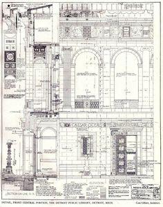 Cass Gilbert Drawings | Detail drawings for the facade of Cass Gilbert's Public Library ...