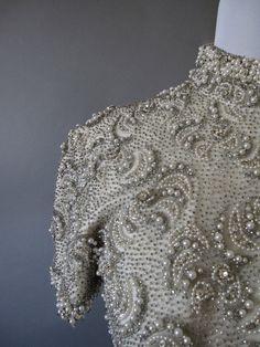 vintage 1960s silk beaded formal gown