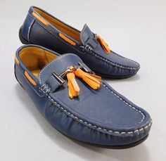Marco Vitale Collezione Slip On Loafers Blue Leather with Orange Tassels Size 9  #MarcoVitale #Loafer
