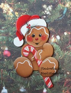Handpainted Wooden Christmas Gingerbread Cookie Ornament,christmas crafts, wooden christmas ornaments, tree decor by stephskeepsakes on Etsy Christmas Gingerbread Men, Gingerbread Ornaments, Gingerbread Decorations, Wooden Christmas Ornaments, Christmas Balls, Christmas Art, All Things Christmas, Christmas Holidays, Christmas Decorations