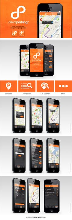 Concept Parking App - Logo, icons, user interface, design, wireframing, front end developer #UI #UX. De beste parkeer app inclusief Car tracker! Meer informatie: http://www.designkwartier.nl/direct-parking.html - © 2013 Designkwartier