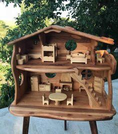 Dollhouse Kits, Wooden Dollhouse, Dollhouse Furniture, Miniature Dollhouse, Dollhouse Dolls, Woodland House, Woodland Forest, Forest House, Fireplace Furniture