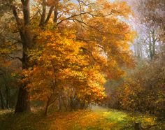 how to html color codes for text Autumn Painting, Autumn Art, Autumn Trees, Beautiful Paintings, Beautiful Landscapes, Landscape Art, Landscape Paintings, Wooded Landscaping, Woodland Art