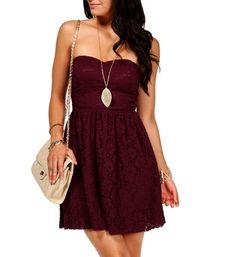 love love the colour Wine Strapless Lace Dress