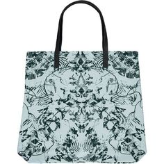 Tropical Symmetry Big Shopper - canvas ss16 #cream black