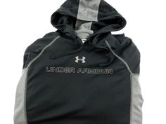 Men's Under Armour Athletic Hoodie Heat Gear Loose Black Gray Size XL…