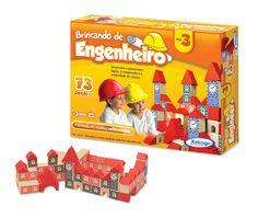 5277.6 - Brincando de Engenheiro Nº 3 | Com 73 peças em madeira. | Faixa etária: + 3 anos | Medidas: 26 x 5 x 21 cm | Educativos | Xalingo Brinquedos | Crianças