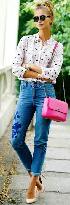 Top| Shirt| Blouse| Pink| Patterned| Printed| Black| Collar| Long sleeve| Tucked in| Jeans| Skinny| Denim| Blue| Bag| Purse| Shoulder bag| Hot| Bright| Bangle| Bracelet| Multiple| Silver| Watch| Shoes| Heels| Pumps| Nude| Tan| Beige| Pointed| Close toed| Spring| P812