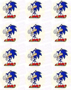 Sonic Edible Cupcake Toppers