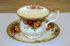 Upcycled Teacup Candle - Royal Albert 'Old Country Roses' Pattern - Vanilla Scented Soy Wax by FinerySoaps on Etsy