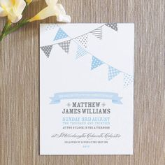 10 x bunting christening invitations by project pretty | notonthehighstreet.com