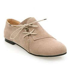 Retro Style Casual Suede and Lace-Up Design Women's Flat Shoes, BEIGE, 38 in Flats | DressLily.com