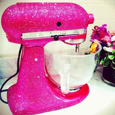 Rhinestone mixer fit for a baking diva! I think I would bake and cook more if I have a pink rhinestone mixer. 100 Things To Do, Girly Things, Sunday Kind Of Love, Everything Pink, Kitchen Aid Mixer, Kitchen Aide, Kitchen Gadgets, Kitchen Items, Kitchen Tools