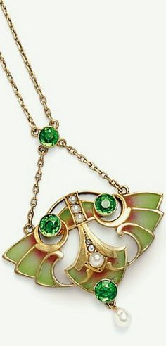 Art Nouveau Gilt-silver and Plique-a-Jour Enamel Pendant, with split pearls and pearl drop, green paste accents, suspended from delicate chain, lg. 1 1/2 in., Continental mark.