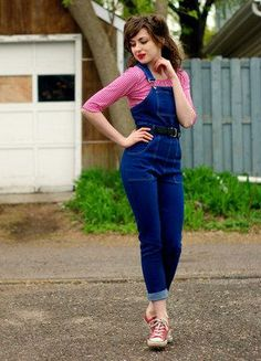 Denim overalls go casual with sneakers and nautical touches on Chloe A. #stylegallery
