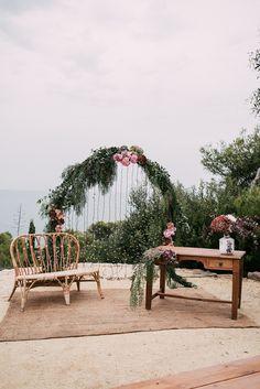 Wedding Ceremony Decor | Floral Arch | Stylish Outdoor Wedding at Masia Casa del Mar in Barcelona, Spain | Sara Lobla Photography | Made in Video Film