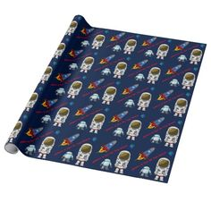 Cartoon Space Theme Custom Birthday Wrapping Paper #wrappingpaper #space #boysbirthday