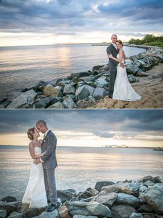 Chesapeake Bay Beach Club Sunset photographs of bride and groom Bride and groom on water
