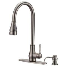 ISPRING Euro Modern Contemporary Single-Handle Pull-Down Sprayer Kitchen Faucet with Soap Dispenser in Lead-Free Brushed Nickel
