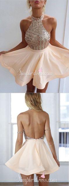 short homecoming dress 2016 // halter homecoming dresses, sparkly homecoming dresses, party dresses ♦F&I♦