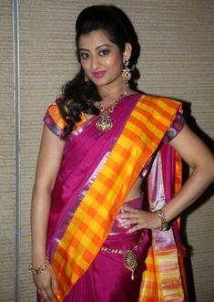 Indian Actress Tejaswini Prakash Hip Navel In Pink Saree